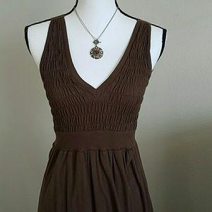 XCVI Sleeveless Smocked Brown Maxi Dress SZ Small